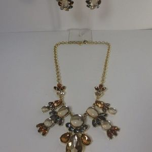 Banana Republic Crystal Necklace Earrings Set NWT